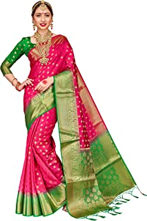 ELINA FASHION Sarees for Women Banarasi Art Silk Woven Work Saree l Indian Wedding Traditional Wear Sari & Blouse Piece