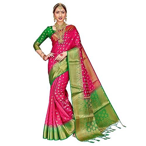 12972b6161 ELINA FASHION Sarees for Women Banarasi Art Silk Woven Work Saree l Indian  Wedding Traditional Wear