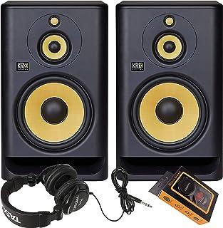 "KRK RP10-3 Rokit 10-3 G4 Tri-Amp 10"" Three-Way Powered Studio Monitor (Pair) + TH02 Headphone + Magnet Phone Holder"