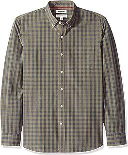 Amazon Brand - Goodthreads Men's Standard-Fit Long-Sleeve Plaid Poplin Shirt with Button-Down Collar