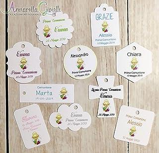 Cartellini COMUNIONE personalizzati, a partire da 20 pezzi, vari colori, per bomboniera, classico, croce, fiore, rettangol...