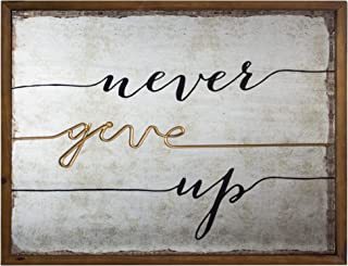 American Art Decor Never Give Up 3 Dimensional Rustic Wood Metal Farmhouse Style Framed Hanging Wall Art Decor