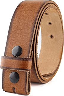 Men's Belt for Buckles 100% top Grain One Piece Leather,Snap on Strap belts for men,no buckle, Made in USA,