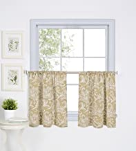 """Elrene Home Fashions 026865775303 Floral Rod Pocket Kitchen/Cafe Tier Window Curtain, Set of 2, 30"""" x 36"""", Linen"""
