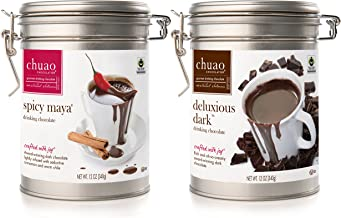 Drinking Chocolate- Chuao Spicy Maya & Delicious Dark Drinking Chocolate (12 oz.)- 2 Pack- Fair Trade Certified Cacao- Voted Best Chocolate in the U.S. by Food & Wine Magazine - Gluten Free and Kosher