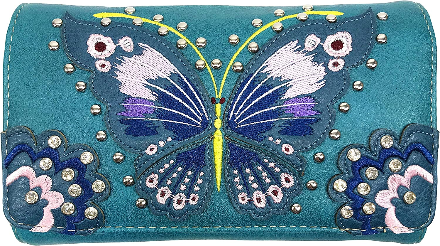 Zelris 2021 Peacock Butterfly Floral Wal Embroidery Crossbody Reservation Trifold