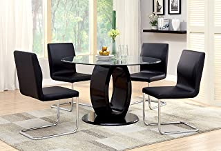 Furniture of America Quezon 5-Piece Round Glass Top Pedestal Dining Set, Black