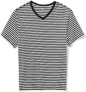 Amazon Essentials Men's Big & Tall Short-Sleeve Stripe V-Neck T-Shirt Shirt, Black/White, 3XL