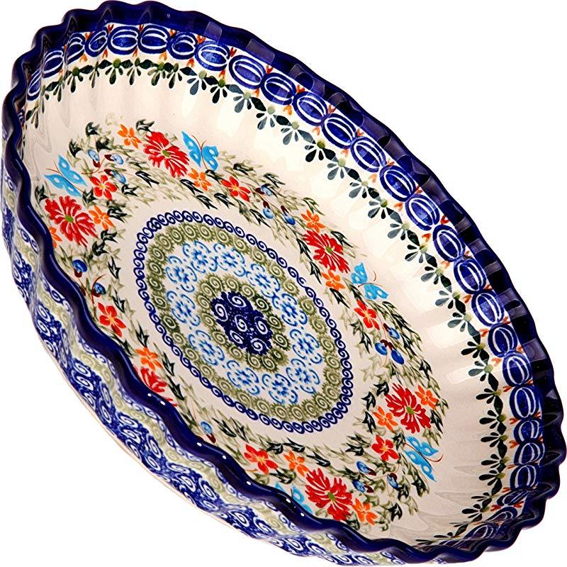 Polish Pottery Ceramika Boleslawiec 1212 238 Pie Baker Small 9 7 8 Inches In Diameter 4 Cups Royal Blue Patterns With Red Cornflower And Blue Butterflies Motif