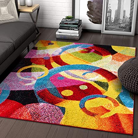 Amazon Com Bubble Bright Multi Circles Yellow Blue Red Abstract Geometric Lines Area Rug 5 X 7 5 3 X 7 3 Easy Clean Stain Fade Resistant Shed Free Modern Contemporary Brush Stroke Painting Art
