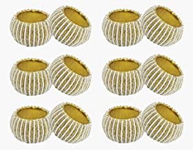 COTTON CRAFT Glitz Set of 12 Round Beaded Napkin Rings, Pearl White and Gold