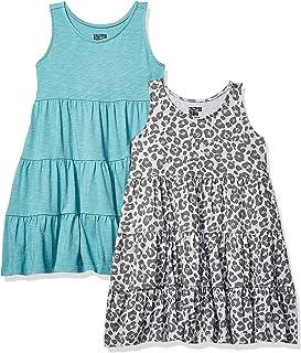 Amazon Brand - Spotted Zebra Girls' Toddler & Kids 2-Pack Knit Sleeveless Tiered Dresses
