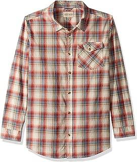 Lucky Brand Boys' Long Sleeve Twill Plaid Shirt with Snow Wash