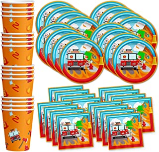 Fire Fighter Truck Birthday Party Supplies Set Plates Napkins Cups Tableware Kit for 16
