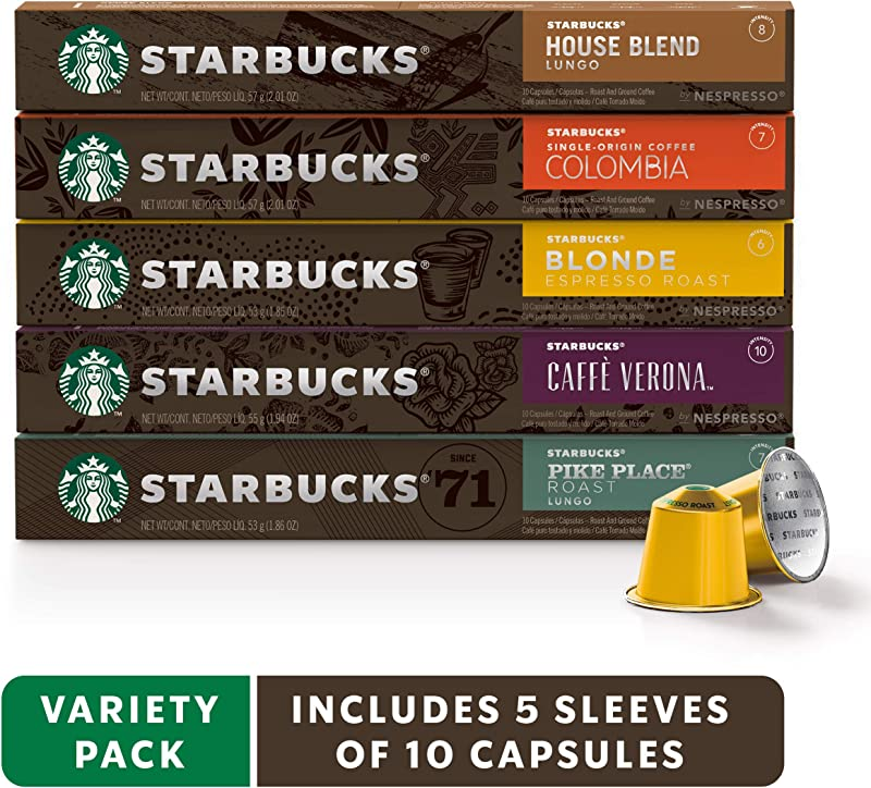 Starbucks By Nespresso Favorites Variety Pack 50 Count Single Serve Capsules 10 Of Each Flavor Compatible With Nespresso Original Line System
