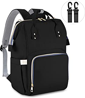 Diaper Bag Backpack, Ceephouge Baby Bag Waterproof Travel Backpack Multi-Function Nappy Bag with Stroller Straps, Large Capacity, Stylish, Black