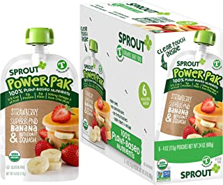 Sprout Organic Stage 4 Toddler Food Power Pak Pouches, Strawberry w/ Superblend Banana & Butternut Squash, 4 Ounce (Pack o...