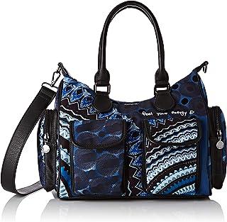 Desigual Bag Rep Blue FRIEN, Borsa a Cartella Donna, Nero/Blu