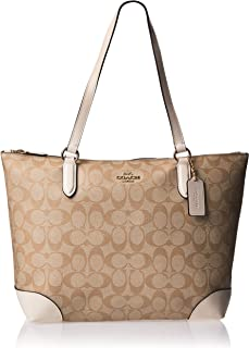 ZIP TOP TOTE IN SIGNATURE CANVAS, F29208, LIGHT KHAKI CHALK