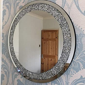 Mh Large Round Jewel Mirror Crushed Jewelled Diamante Gem Filled Round Wall Mirror Amazon Co Uk Kitchen Home
