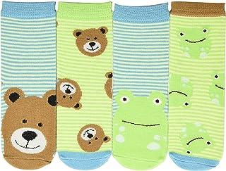 FlapJackKids, Calzini Rana E Orso Calcetines, Multicolor (Frog/Bear Frog/Bear), Talla única (Talla del fabricante: Small) (Pack de 4) para Bebés