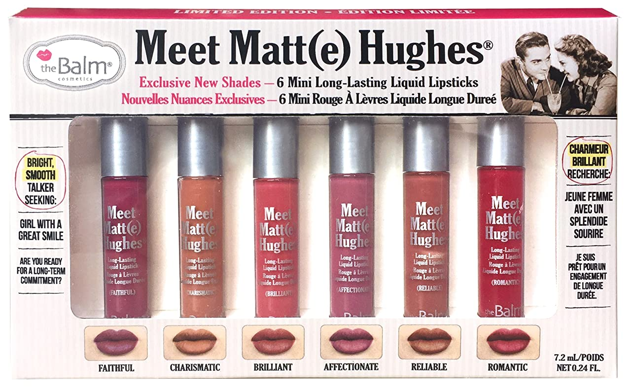 プレミア助けてホイストtheBalm Meet Matte Hughes Set of 6 Mini Long-Lasting Liquid Lipsticks 2