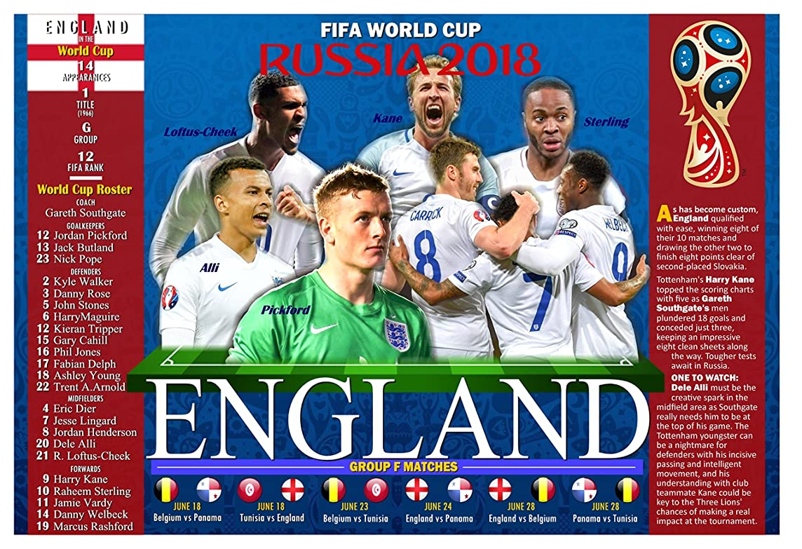 PosterWarehouse2017 ENGLAND'S 2018 WORLD CUP SOCCER TEAM COMMEMORATIVE POSTER