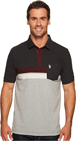 Classic Fit Color Block Short Sleeve Pique Polo Shirt