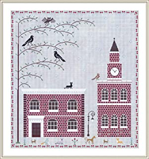 English Brick Houses Sampler Cross Stitch Counted Chart PDF on CD Unique Easy to Make