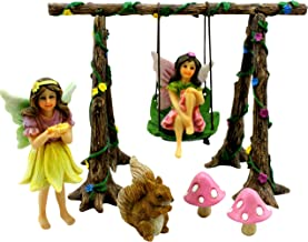 PRETMANNS Fairy Garden Accessories – Miniature Fairies & Fairy Swing Set with Squirrel & Mushrooms – Fairy Garden Supplies 9 Pieces