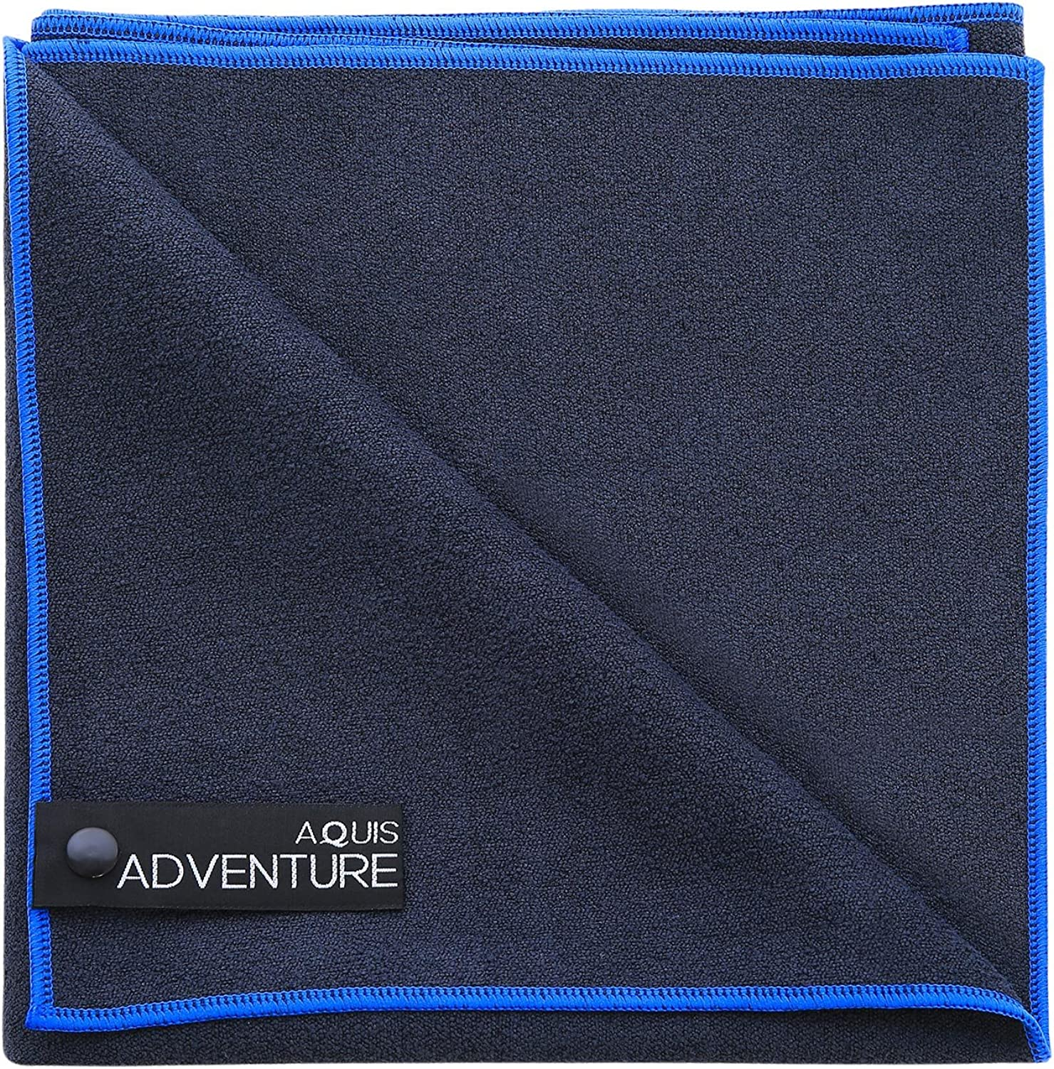 AQUIS - Adventure Microfiber Sports Towel, Quick-Drying Comfort Great for Gym, Travel or Camping Towel, Black with blueee Trim (Large 19 x 39 Inches)