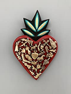 Ex Voto Wooden Sacred Heart with Milagros - Mexican Heart Milagro Hanging Wall Decor - Corazon Madera Milagros L