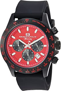Oceanaut Men's Biarritz Stainless Steel Quartz Watch with Rubber Strap, Black, 22 (Model: OC6115R)