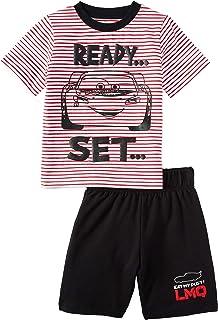 Disney Lightning McQueen Cars Toddler Boys Tee Shirt and Short Set (5T) Black