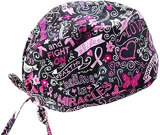 Pink Ribbon Breast Cancer Awareness Support Survivor Scrub Cap Head wrap
