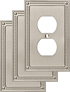 Franklin Brass W35059V-SN-C Classic Beaded Single Duplex Wall Plate/Switch Plate/Cover (3 Pack), Satin Nickel