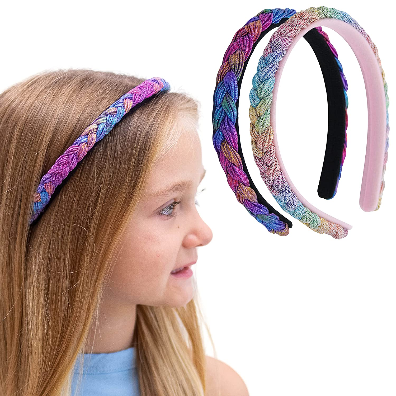 FROG SAC 2 Braided Headbands Cheap SALE Start For Outlet SALE Dye Girls No Tie Adjustable Sl