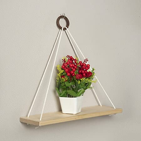 Present Mart Wood Wall Hanging Shelf, Wood Floating Shelves, Hanging Swing Rope Shelves White Rope Hanging Shelves, Rustic Wall Decor Swing Shelf for Home/Office Decor Pack of (1, 14 x 5.5 Inch)