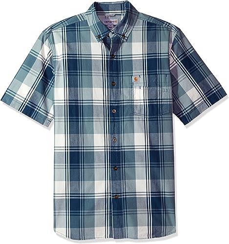 voiturehartt Hommes's Big & Tall Essential Plaid Button Down Collar SS Shirt, Dark bleu, grand