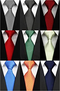 Wehug Lot 9 PCS Classic Men's tie 100% Silk Tie Woven Jacquard Neckties Solid Ties for men