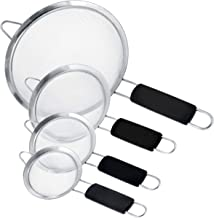 """U.S. Kitchen Supply - Set of 4 Premium Quality Fine Mesh Stainless Steel Strainers with Comfortable Non Slip Handles - 4"""",..."""