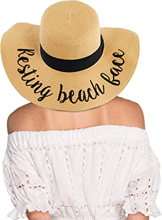 e29002ad Hatsandscarf CC Exclusives Straw Embroidered Lettering Floppy Brim Sun Hat  (ST-2017)