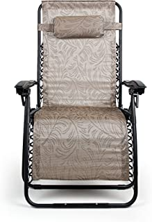 Camco 51832 Zero Gravity Wide Recliner (X-Large, Tan Fern Pattern)
