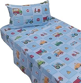 J-pinno Cute Cartoon Cars Truck Tractor Transportation Twin Sheet Set for Kids Boy Children,100% Cotton, Flat Sheet + Fitted Sheet + Pillowcase Bedding Set