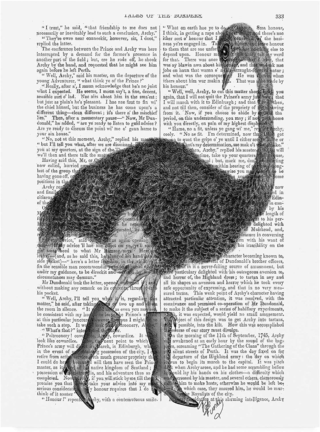 Trademark Fine Art Ostrich in Boots by Fab Funky, 14x19