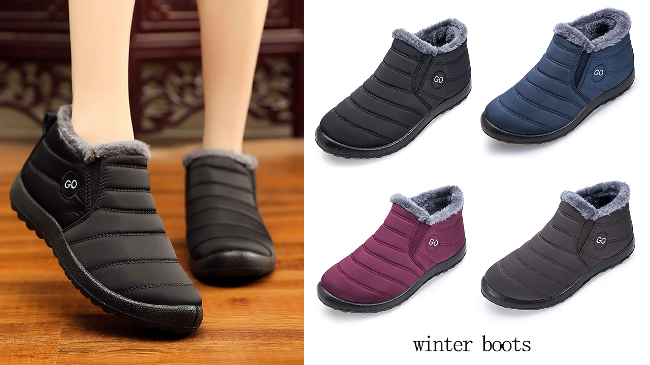 Womens Winter Snow Boots Fur Lined Warm Ankle Boots Slip On Waterproof Outdoor Booties Comfortable Shoes for Women