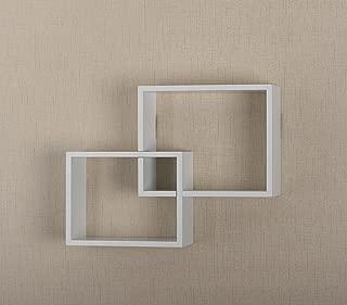 V-Light Interlocking Wall Cube Wood Shelving, White