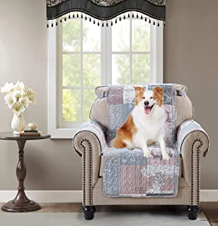 Brilliant Sunshine Sofa Chair Protector 23 Inch Patchwork Paris Butterfly Print Reversible Quilted Scroll Soft Layers/, 2