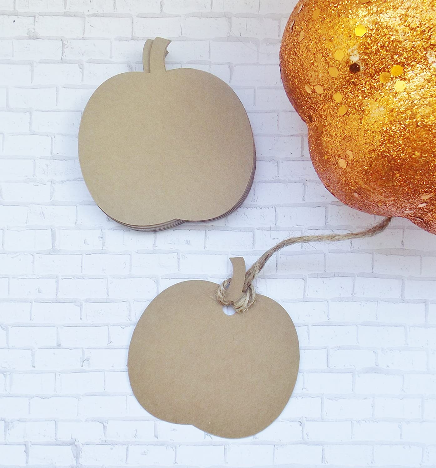 Kraft Pumpkin Tags with depot Twine - of Set Gift shopping Labels Name