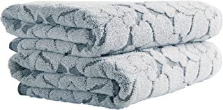 Stone & Beam Flora Jacquard Cotton Bath Towels, Set of 2, Regatta Blue